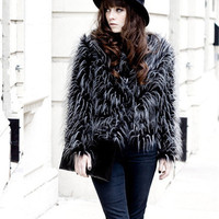 'The Addeson' Feathered Fur Long Sleeve Coat