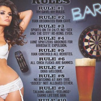 Man Cave Rules Humor Poster 24x36