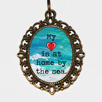My Heart Is At Home By The Sea Necklace Oval Pendant