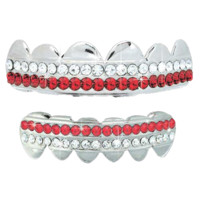 Silver Plated 2 Row Red Silver Plated Grillz Set