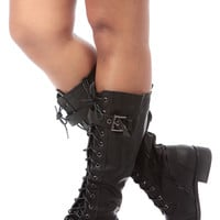Black Faux Leather Lace Up Calf Length Boots