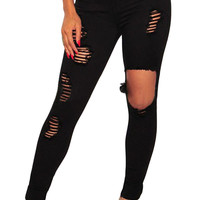 Black Button Fly Ripped Skinny Jeans