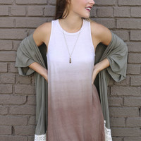 Ocean Fog Coffee Ombre Sleeveless Jersey Swing Dress
