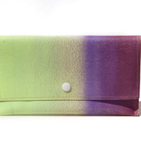 luckezcharm - Big Clunky Wallet Clutch in moodring purples and lime greens