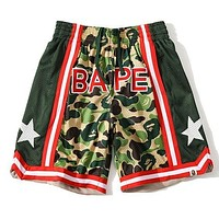 BAPE breathable sports camouflage star shorts Mesh Green