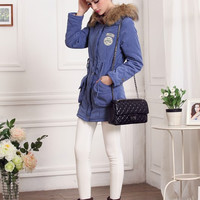 Women Winter Cotton Jacket Fur Collar Hooded Cardigan Coat Outwear Solid Color XS-XXL = 1667685060