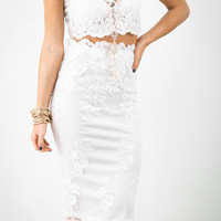 Mad Love White Lace Crop Top & High Waist Skirt