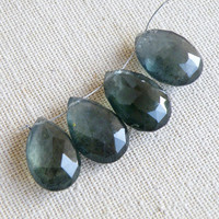 47% Off Outstanding Moss Aquamarine Gemstone Faceted Teal Teardrop Briolette 18.5 to 19.5mm 4 beads