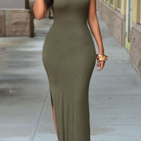 Army Green Sleeveless V-Back Bodycon Maxi Dress