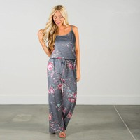 Plus-Size  Casual Loose Print Drawstring Belt Long Rompers Spaghetti Strap Off Shoulder Jumpsuits  S-3XL