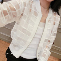 White Collarless Long Sleeve