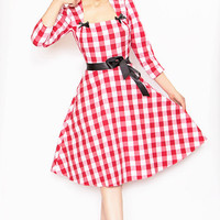 Rockabilly Girl by Bernie Dexter**40's Style Red Gingham Print Lana Dress - Unique Vintage - Cocktail, Evening  Pinup Dresses