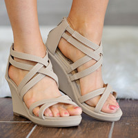 * Mikka Strappy Wedge Sandal: Taupe