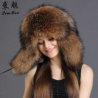 Genuine Fur Bomber Hats For Women Winter Real Raccoon Fur New Luxury Trapper Hat Caps 2018 Fashion Russian Style Bombers Hat