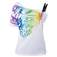 Casual Lasies Tops Beautiful Butterfly Print T-shirt women batwing Sleeve Loose t shirt