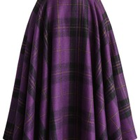 Classic Plaids A-line Skirt in Purple