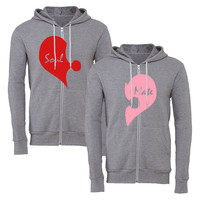 love pink and red matching couple zipper hoodie