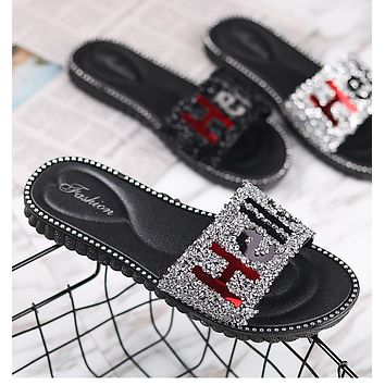"Fashion letter ""Hello"" flashing diamond new slippers women shoes sandals"