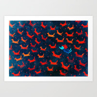 flight of the foxes Art Print by Wirrow