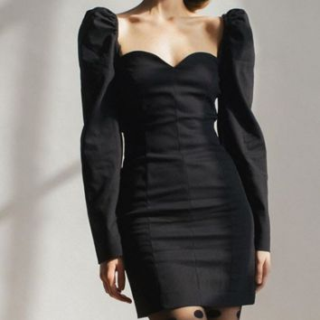 Hot style hot seller collar long sleeve slim sexy sheath dress