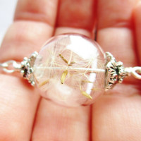 Dandelion Seed Wish Glass Orb Terrarium Necklace, Small Orb In Silver
