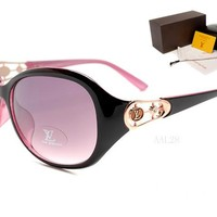 LV Mirrored Flat Lenses Street Fashion Metal Frame Women Sunglasses [2974244724]