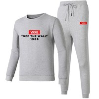 VANS autumn new print long-sleeved round neck sweater beam foot sportswear two-piece Grey