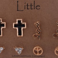 2 Packs of Gold Inspirational Love and Cross Themed Four Pair Stud Earrings Set
