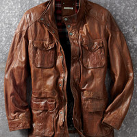 Back Roads Leather Car Coat-Carbon 2 Cobalt