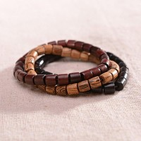 Natural Wooden Beaded Charm Stretch Bracelet