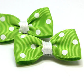 Green and White Polka Dot Dog Bows Acid Green Puppy Bow with White Satin Ribbon Gros Green Hair Bow with Groomer Bands or French Clips