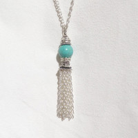 Turquoise Tassel Necklace, Silver Tassel Necklace, Bead Tassel Necklace