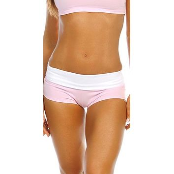 Sexy Balance Roll Down Top Athletic Yoga Hot Pants - Baby Pink/White