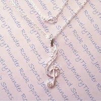 Silver Sparkling Crystal Treble Clef Music Note Necklace