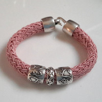 Light Pink Poly Braided Bracelet with Hearts