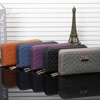 """Coach"" Women Purse Fashion Simple Classic Embossed Long Section Double Zip Wallet Handbag"