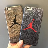 New Arrival Jordan Black silk pattern Hard Cover Case For iPhone7 7Plus Jumpman 23 Pho