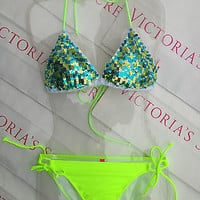 New Sexy Victoria's Secret Neon Margarita Green Triangle Push Up Sequin Bikini