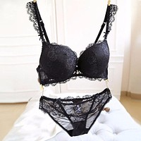 Sexy Lace Push-Up Deep V Bra Set Women Underwire Bra Underwear Lingerie Outfits RE3