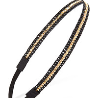FOREVER 21 Beaded Stripe Headband Black/Gold One