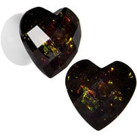 00 Gauge White Acrylic Black Valentine Love Heart Saddle Plug Set | Body Candy Body Jewelry