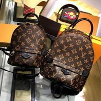 DCCKHA LV Louis Vuitton Women Casual Daypack School Bag Cowhide Leather Backpack