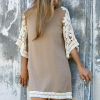 Sunsets in Savannah Taupe Shift Dress With Crochet Shoulders & Tassel Fringe Trim