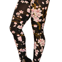 Black Cherry Blossom Leggings Design 424