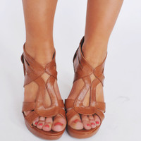 Cross Strap Wedge- Tan
