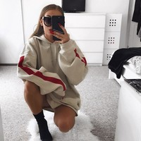 Baddie Stripe Oversized Long Sleeve Sweatshirt Tumblr