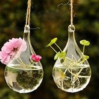 Water Drop Shape Hanging Glass Flower Vase Home Party Decor