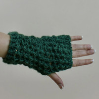Green Fingerless Gloves - Lace Fingerless Mittens - Typing Texting Gloves - Hobo Wrist Warmers