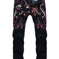 Colorful Paint Splatter Print Dark Wash Tapered Jeans