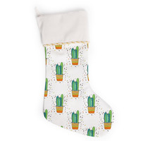 "Vasare Nar ""Cacti Cactus Fiesta"" Green White Art Deco Sage Christmas Stocking"